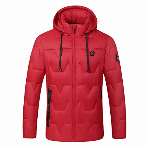 Best Price! Dainzuy Men's Down Heated Jacket with Battery Hand Warmer Solid Color Smart USB Electric...