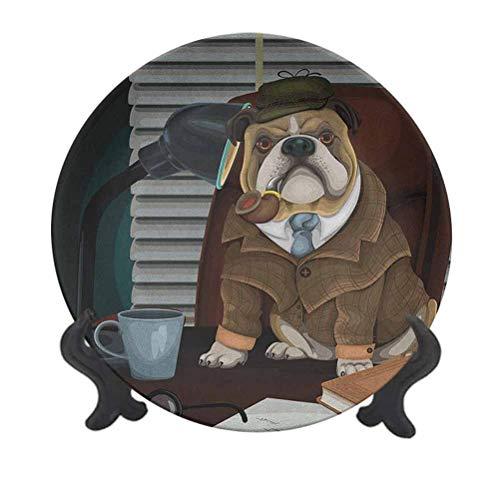 Plato decorativo para colgar de cerámica con diseño de Bulldog inglés de 20,32 cm, diseño de perro detective inglés tradicional con un tubo y sombrero, diseño de Sherlock Holmes