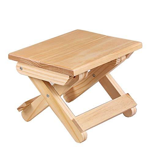 YLCJ Kiefer Klappstuhl Portable Home Mazar Outdoor Angeln Stuhl Massivholz Kleine Bank (Farbe: Holz Farbe Größe: 24 * 19 * 17,8 cm)