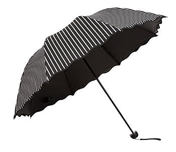 Honeystore Three Folding SPF Umbrella Ruffled Striped Umbrellas UV Sun Parasols Black