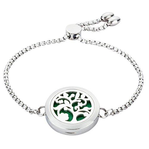JAOYU bracciali diffusore olio essenziale per le donne braccialetto amicizia catena in acciaio inox galleggiante fascino medaglione - albero gioielli