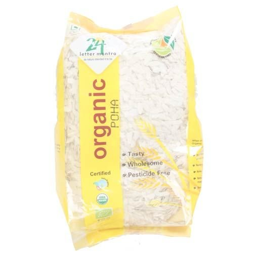 24 Letter Mantra Organic Beaten Rice, Poha White, 2 lb (Packaging may vary)