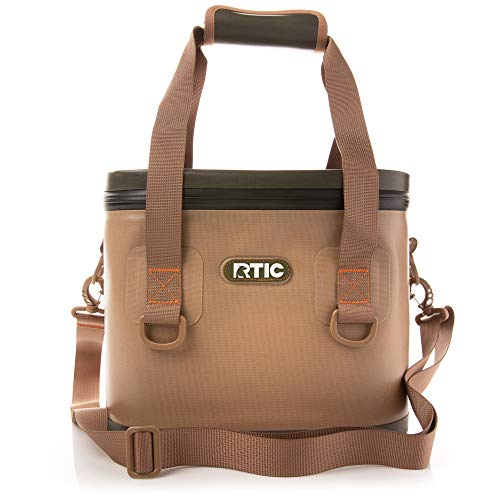 RTIC Soft Cooler 8, Tan, Insulated Bag, Leak Proof Zipper, Keeps Ice Cold for Days