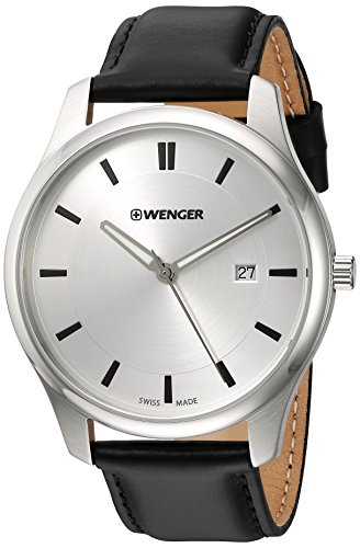 Wenger Men's City Classic Stainless Steel Swiss-Quartz Watch with Leather Calfskin Strap, Black, 20 (Model: 01.1441.102)