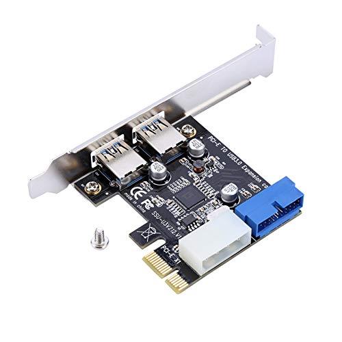 Espansione da PCI-E a USB 3.0, adattatore per schede con interfaccia 19 pin anteriore, supporta velocità di trasferimento fino a 5 Gbps, per Windows XP 32/64, Windows 7 32/64, Windows8, Windows8.1, Wi