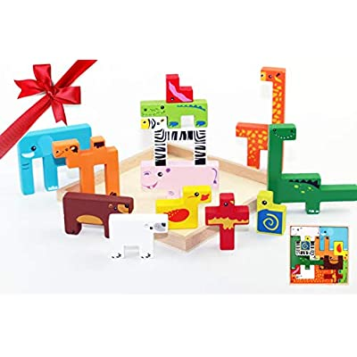 Amazon - 60% Off on Wooden Baby Toys Toddler Puzzles Plan Toys Wooden Toys for Toddlers Colorful Brain Teaser