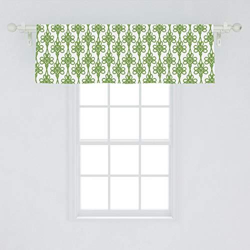 Lunarable Celtic Window Valance, St. Patrick's Day Theme Celtic Knots Lucky Clover Design Pattern Irish Theme Print, Curtain Valance for Kitchen Bedroom Decor with Rod Pocket, 54' X 18', White Green