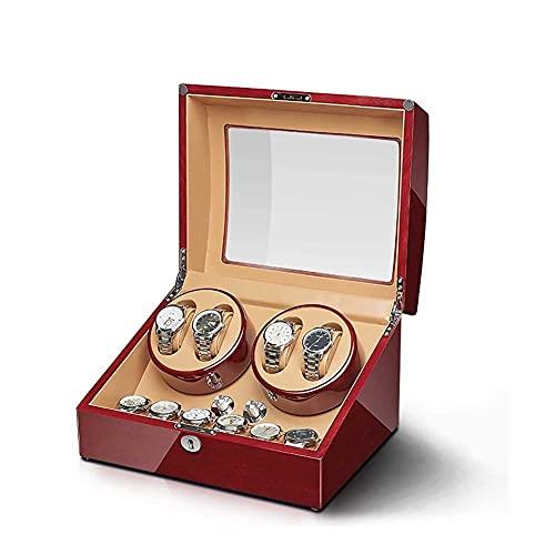 UOOD Caja de rotación de rotación automática con relojes de almacenamiento de relojes de almohada de cuero, pintura de piano de cuero de cuero de cuero de madera, reloj placer giratorio tranquilo y du