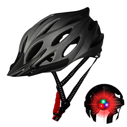 Hihey Fahrradhelm für Herren und Damen EPS-Körper + PC-Schale integrierte Form MTB Helm mit Löchern Radhelm mit abnehmbarem Visier(Grau)