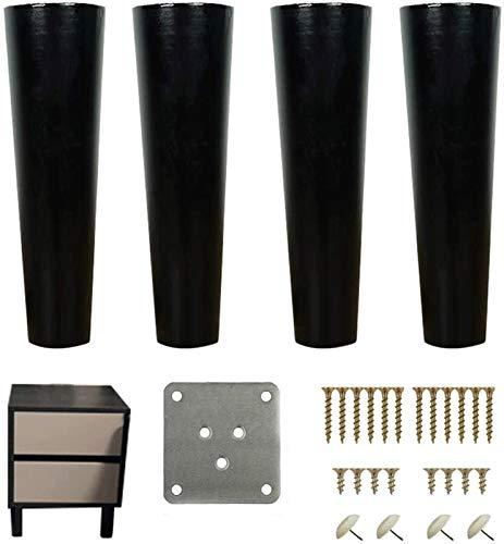 KISNAD Patas de gabinete Muebles de pies Patas de Muebles de Madera Maciza Pies de sofá Negro Soporte de pie Piernas de Mesa de Madera (Size : 15cm/5.9in)