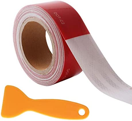 Uranshin Trailer Reflective Tape DOT C2 Reflective Safety Tape Waterproof Red and White Adhesive product image