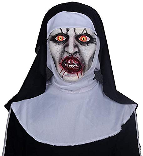 Nun Scary Mask Halloween Scary Costume Accessories for Carnival, Themed Party, Masquerade Parties, Halloween (Black)