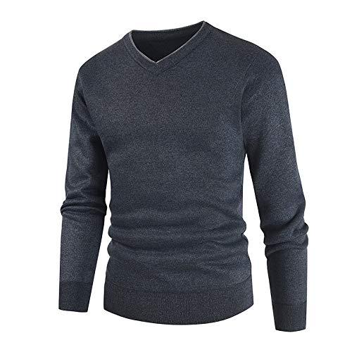 Suéter Tipo Jersey para Hombre, Cuello en V, Ligero, Tejido, Fondo, Negocios, Ocio, Informal, Color sólido, Talla Grande M