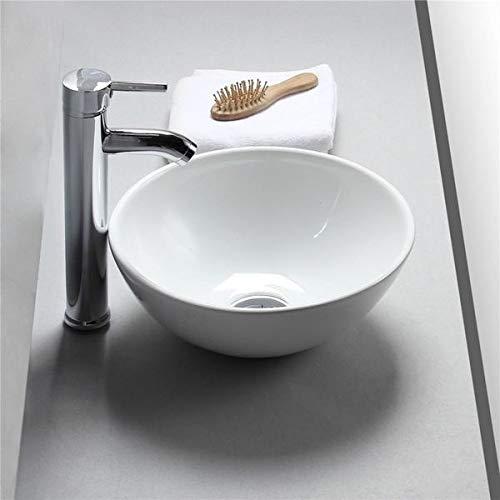 Waschbecken Design Aufsatzwaschbecken Waschschale Wachtisch Rund Hochglanz weiß Keramik 400 * 400 * 140 mm, (bol) von Art-of-Baan®