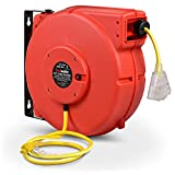 ReelWorks Extension Cord Reel Retractable Longest Industrial 12awg x 80' Foot Commercial Premium Grade Ultra Flexible 3C/SJTOW Glow Strip Cable and Led Light Up Triple Tap Connector Use Indoor/Outdoor