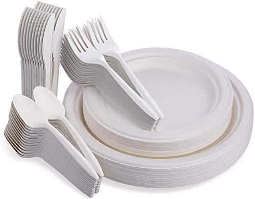 Xumier 240pcs Platos Desechables biodegradables de Papel Bandeja de pulpa Redondo Platos Fiesta Vajilla desechable Tenedores, Cuchillos, cucharas para Fiesta Picnic Camping (blanco)