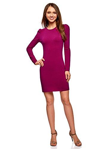 oodji Ultra Damen Enges Baumwoll-Kleid, Violett, DE 38 / EU 40 / M