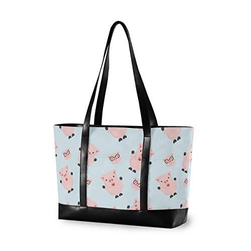 LZXO Laptop-Tasche, (15,6 Zoll), süßes Schweinemuster, große Schultertasche, Reißverschluss, leicht,Handtaschen