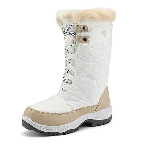 DREAM PAIRS Women's Goose Beige White Faux Fur Knee High Winter Snow Boots Size 9 M US