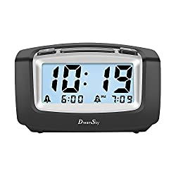 DreamSky Dual Alarm Clock with Smart Adjustable Nightlight, Snooze, Large LCD Display, Portable Battery Operated, Ascending Alarms Sound, Simple Operate Clocks for Bedroom and Kids