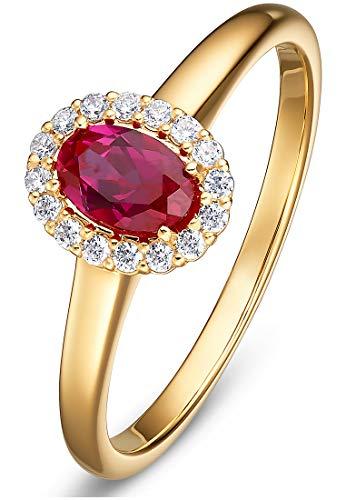 CHRIST Gold Damen-Damenring 585er Gelbgold 1 Rubin 58 Rot 32010385
