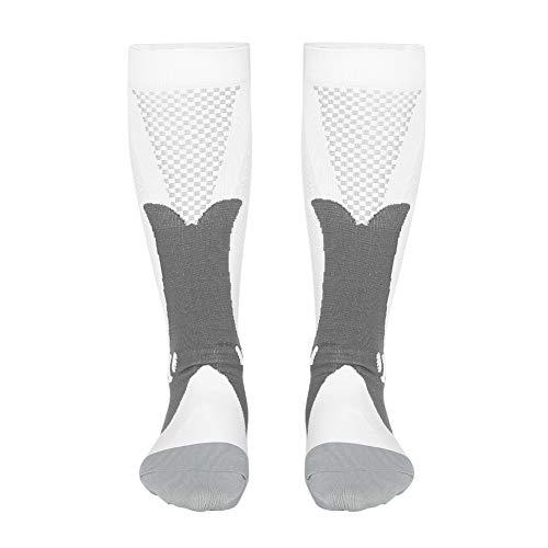 Ruining Calcetines Antideslizantes Medias de Soporte para piernas Calcetines de compresión para Hombres, Calcetines duraderos Medias de(White, L/XL)