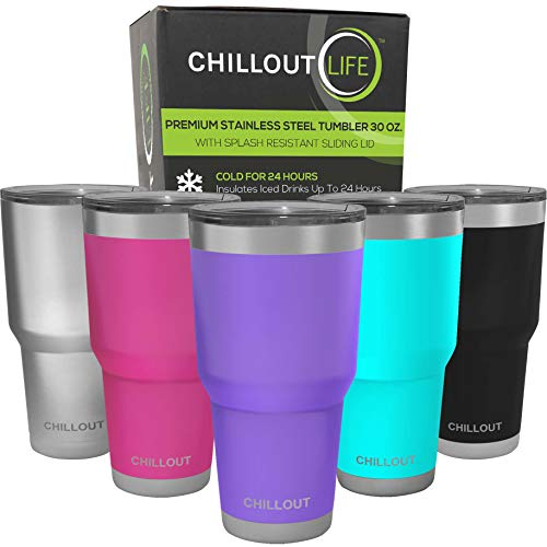 CHILLOUT LIFE 30 oz Stainless Steel Tumbler with Lid & Gift Box   Double Wall Vacuum Insulated Large Travel Coffee Mug with Splash Proof Lid for Hot & Cold Drinks - Powder Coated Tumbler