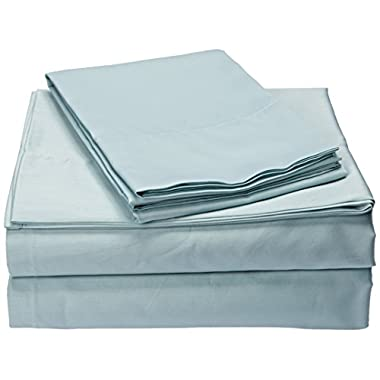 300TC Liquid Cotton Queen Bed Sheets, Casual Silk Cotton Bed Sheet, Seafoam Bed Sheet Set 4-Piece Include Flat Sheet, Fitted Sheet & 2 Pillowcases
