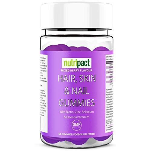 Hair Skin & Nail Gummies - 60 Vegetarian Mixed Berry Chewable Vitamins - Essential Multivitamins & Minerals Supplement - Biotin, Zinc, Vitamin D3, Selenium Vitamin C - Gluten, Dairy, Soy & GMO Free