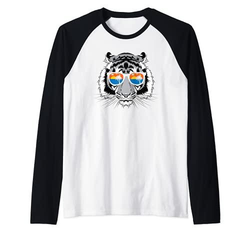 Gafas de sol 'Cool White Tiger' Sunset Palm Tree Camiseta Manga Raglan