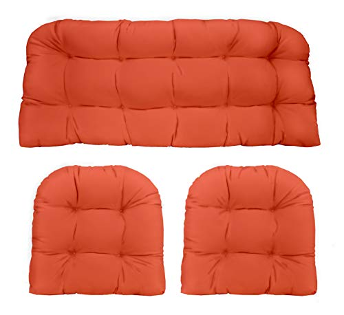 small RSH Décor Indoor Outdoor 3 Piece Wicker Sofa Cushion 1 Sofa and 2 U-shaped Weather Cushion…