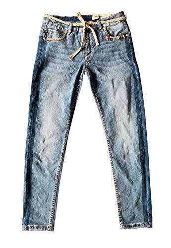 Wiya Damen Stretch Jeans Hose Reißverschluss Freizeithose DY596 (L)
