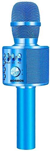 BONAOK Micrófono Inalámbrico de Karaoke Bluetooth, 3-en-1 Portátil Karaoke Portátil Mic Regalo de Cumpleaños Equipo de Altavoces para Ffiestas en el Hogar para iPhone/Android/iPad (Dorado Claro)