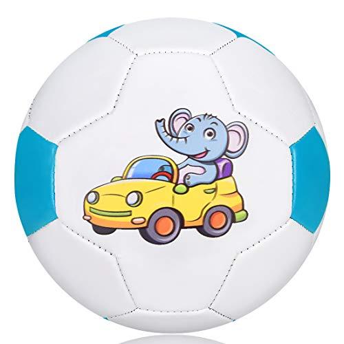 Wisdom Wolf Balón de fútbol para niños, ligero, pequeño y suave, para niños, para exteriores/interiores, sin bomba, tamaño 2 (Tamaño 2, elefante)