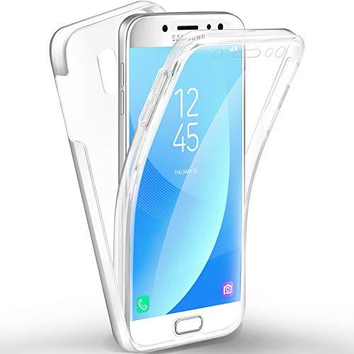 Funda para Samsung Galaxy J5 2017 J530, Silicona Transparente 360 Grados Delantera Trasera Carcasa Ultra-Delgado Resistente Anti-Arañazos Anti-Choques Doble Cara Protectora
