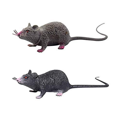 Huachaoxiang Materiali 2ST realistica dei Mouse Rat Toy Prank Creepy Partito Giocattolo (Nero e Grigio),Nero