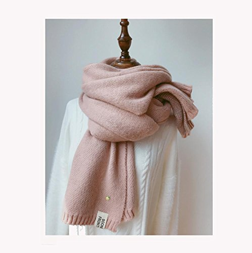 MFFACAI Dame Schals Stilvoll Winter Verdickung Warm Rein Woll Schal, pink