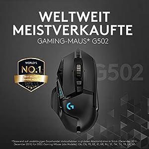 Logitech G502 HERO High-Performance Gaming-Maus, HERO 16000 DPI Optischer Sensor, RGB-Beleuchtung, Gewichtstuning, 11 Programmierbare Tasten, Anpassbare Spielprofile, PC/Mac - Deutsche Verpackung