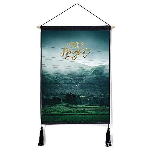 mmzki Moderno Minimalista nórdico Paisaje Pintura Dormitorio Lino algodón Arte Pintura Tapiz Pintura Decorativa L 46 * 65 cm