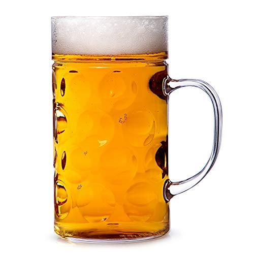 bar@drinkstuff Boccale di birra in plastica da 1 litro 568 ml, con posto per schiuma e impugnatura