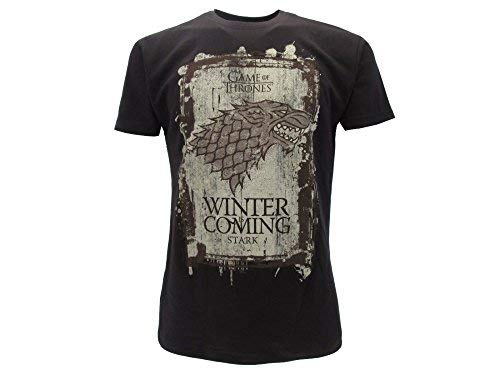 T-Shirt Camiseta Winter IS Coming Familia Casa Stark Serie de Televisión Juego DE Tronos Game of Thrones - 100% Oficial HBO (XXS 8-10 Años)