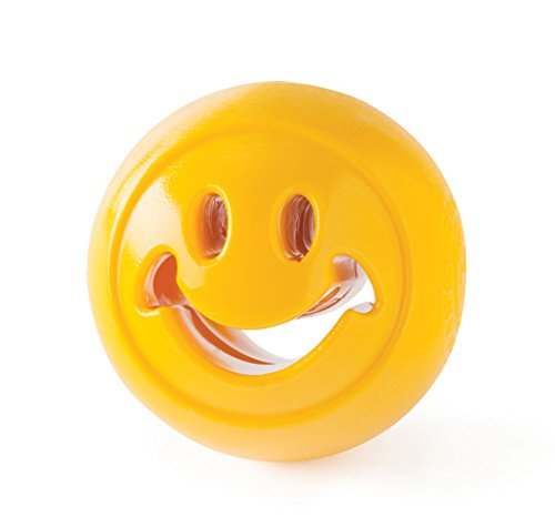 Planet Dog Orbee-Tuff Smiley Face Nooks - gioco interattivo per cani erogatore di ricompensa - giallo - Made in USA