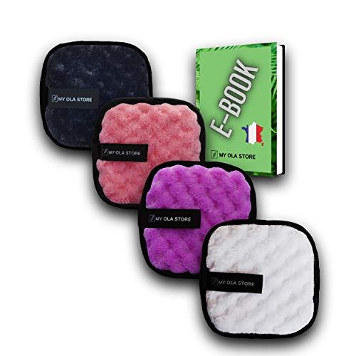 Lot de 4 lingettes démaquillantes double face en microfibre lavables et réutilisables - Disque démaquillant - Tampon coton doux pour le nettoyage en profondeur du visage