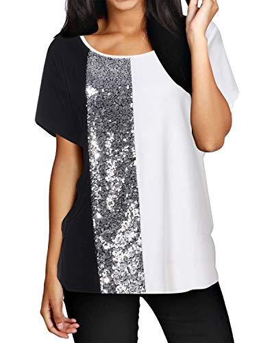 ZANZEA Camisetas Mujer Manga Corta Holgada Top Tallas Grandes Cuello Redondo Lentejuelas Blusa Suelta T Shirt 05-Blanco XL