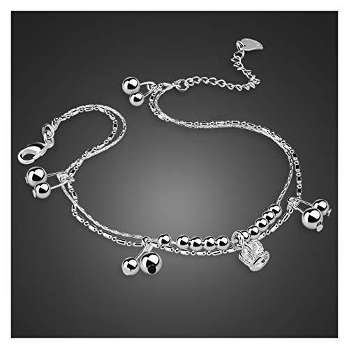 QHKS Moda 100% 925 Pulseras de la Pierna Colgante de la Corona de Plata esterlina para Las Mujeres del pie de Las Mujeres, joyería de los pies de la Cadena de los Regalos de la Amistad del Verano