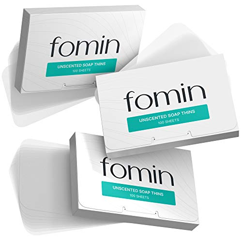 FOMIN 3-Pack Unscented Foaming Hand Soap Sheets - Paper Soap Sheets for Traveling - 300 Camping Soap Paper Sheets