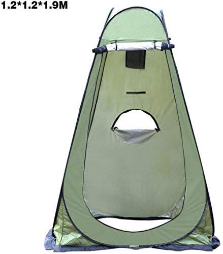 Likejj Tienda de campaña desplegable para exteriores, para inodoro, portátil, vestidor móvil, toldo de pesca al aire libre, toldo de baño, alfombra de picnic, bolsa de transporte plegable Verde - 1,2 x 1,2 x 1,9 m.