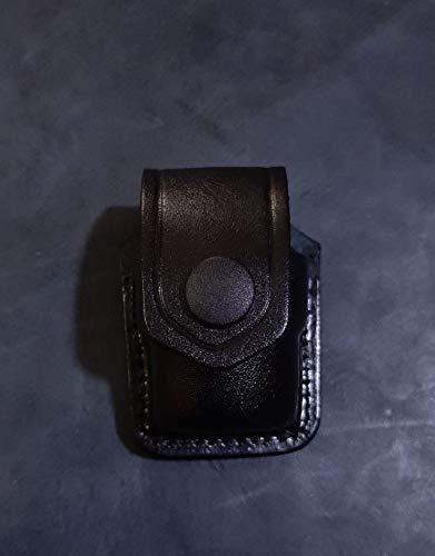 DM002 Handmade Leather Single Speed Loader Carrier/case/Pouch Belt Clip 357 Magnum 6 & 7 Shots, 44 Magnum 5 Shot, S&W .38 Special 6 Shot speedloaders (Black)