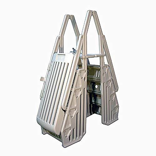 Vinyl Works AF Adjustable 24 Inch Gated Entry Above Ground Pool Ladder, Taupe