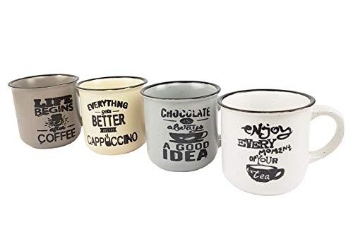 BuyStar Set 4 tazzine Tazze da caffè in Ceramica Stile Vintage | Servizio da caffè | Bicchierini Espresso tazzina caffè Coffee Espresso, Assortito